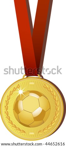 Gold football medal with red ribbon