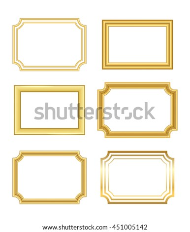 Gold frame. Beautiful simple golden design. Vintage style decorative border, isolated on white background. Deco elegant art object. Empty copy space for decoration, photo, banner. Vector illustration. - stock vector