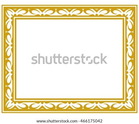 Gold Frame Border Ornate Vector Vintage Stock Vector 466175042
