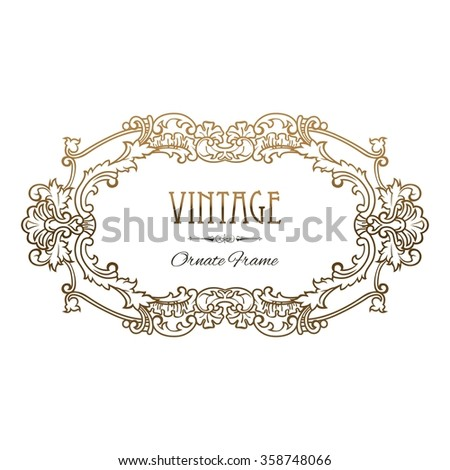 Gold Frame isolated on white background. Decorative vector frame with place for text. Vector EPS 10. - stock vector