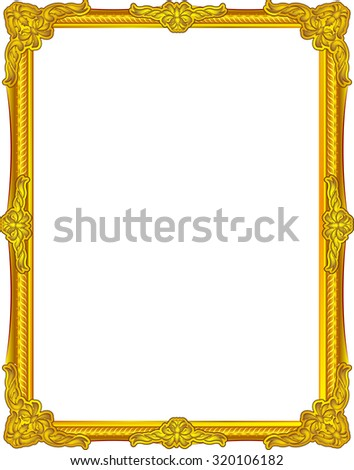 gold frame louis picture vector abstract design gold frame color - stock vector