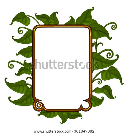 Gold frame with an ornament of green leaves. Interior design. Vector illustration. - stock vector