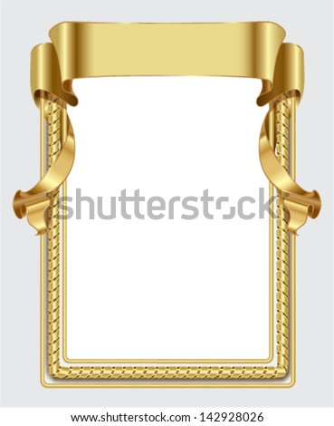 Gold frame with  ribbon - stock vector