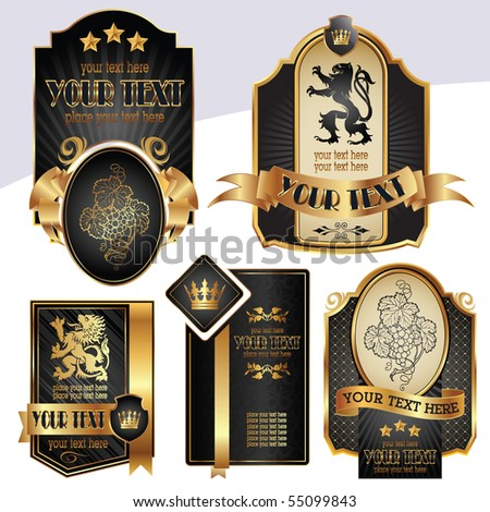 gold-framed labels on different topics for decoration and design - stock vector