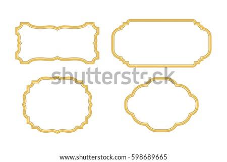 Gold Frames Beautiful Simple Golden Design Stock Vector 598689665