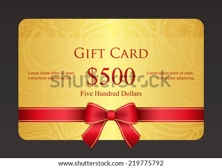 Gold gift card with red ribbon and vintage floral pattern - stock vector
