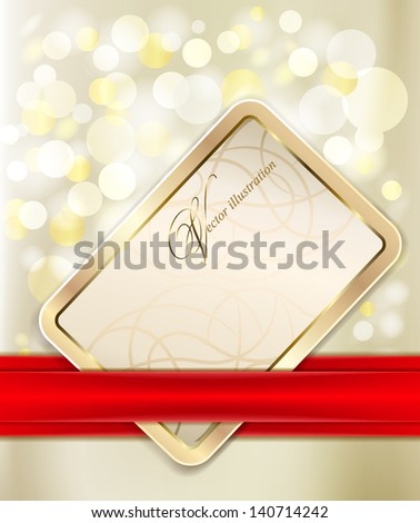 Gold gift card with red ribbon. Shiny holiday background. - stock vector
