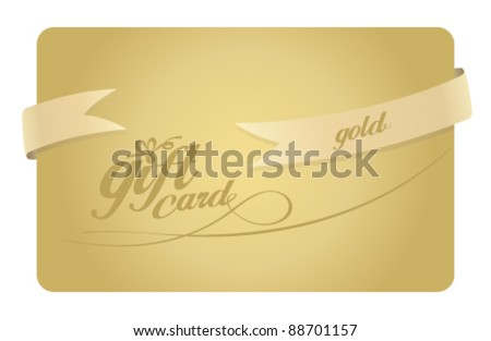 Gold Gift card with ribbon.