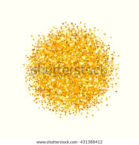 Gold glitter background. Abstract vector explosion with polygonal particles Isolated on white background
