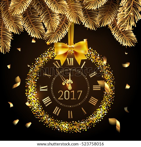 Gold glitter disco Vector 2017 Happy New Year background with gold clock and christmas tree border and confetti. Golden Greeting Card with glitter gold 2017 clock and box. Luxury greeting card. Vector