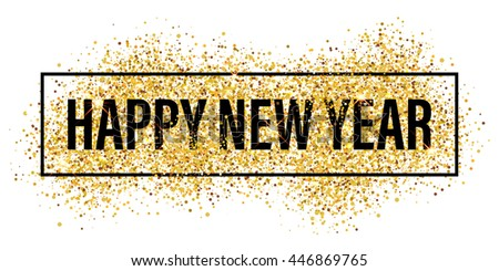 Gold Glitter Happy New Year 2018 Background Glittering Texture Sparkles