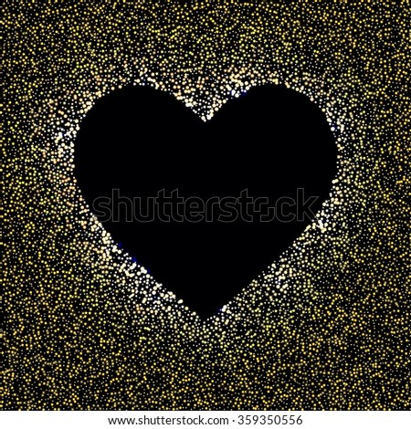 Gold glitter heart card. Valentine card concept. Vector illustration - stock vector