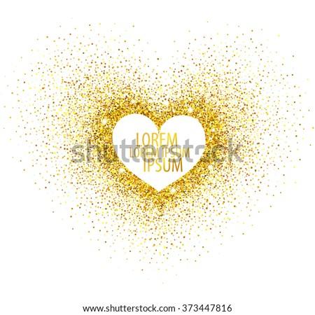 Gold glitter heart on white background. Gold sparkle heart. Template for your Valentine's design, invitation, logo, web, card, gift, vip, voucher, certificate. Vector illustration.  - stock vector