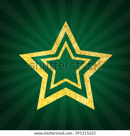 Gold glitter star on green grunge background - stock vector