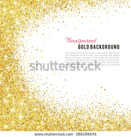 Gold glitter texture isolated on white background. Vector illustration for golden shimmer background. Sparkle sequin tinsel yellow bling. For sale gift card, brightly vibrant certificate voucher - stock vector