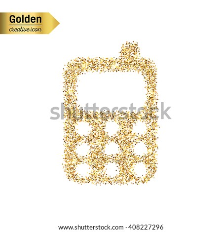 Gold glitter vector icon of mobile phone isolated on background. Art creative concept illustration for web, glow light confetti, bright sequins, sparkle tinsel, abstract bling, shimmer dust, foil - stock vector