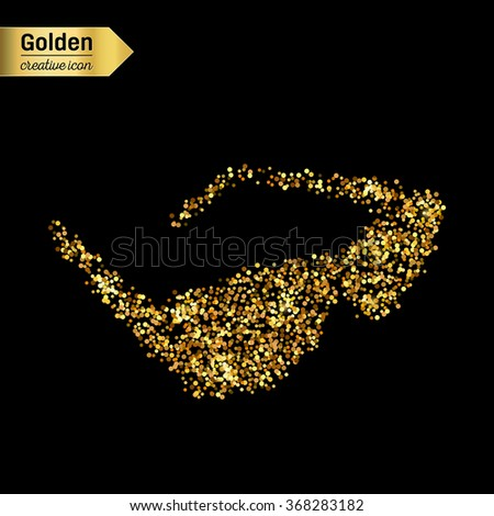 Gold glitter vector icon of sun glasses isolated on background. Art creative concept illustration for web, glow light confetti, bright sequins, sparkle tinsel, abstract bling, shimmer dust, foil. - stock vector