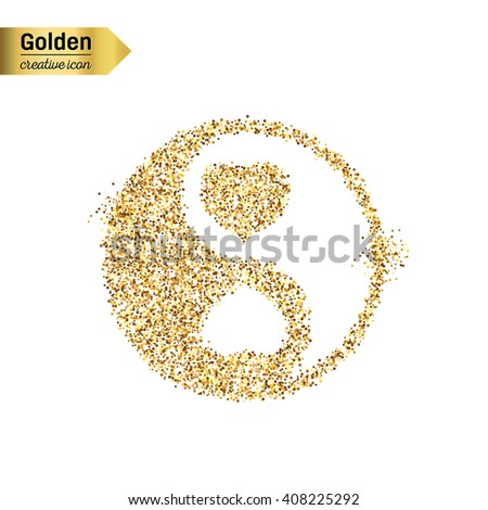 Gold glitter vector icon of Yin Yang isolated on background. Art creative concept illustration for web, glow light confetti, bright sequins, sparkle tinsel, abstract bling, shimmer dust, foil. - stock vector