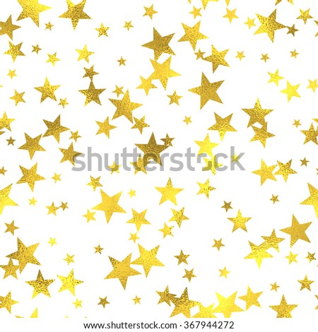 Gold glittering foil seamless pattern background with stars