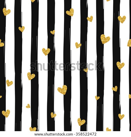 Gold glittering heart confetti seamless pattern on striped background - stock vector
