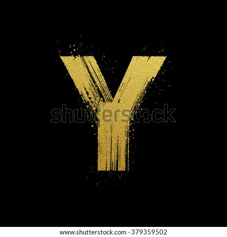 Gold glittering letter y brush hand stock vector hd royalty free gold glittering letter y in brush hand painted style altavistaventures Images