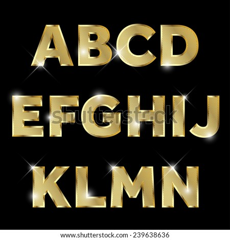 Gold glittering  metal alphabet. - stock vector