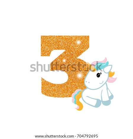 Gold glittering number three birthday anniversary stock vector gold glittering number three birthday anniversary number with cute unicorn birthday template with unicorn maxwellsz