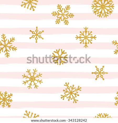 Gold glittering snowflakes seamless pattern on striped background - stock vector