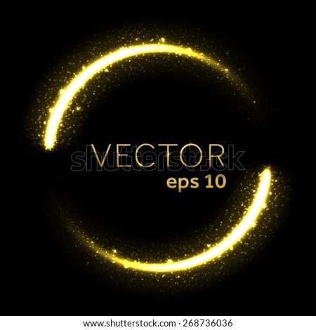 Gold glittering star dust lights circle - stock vector
