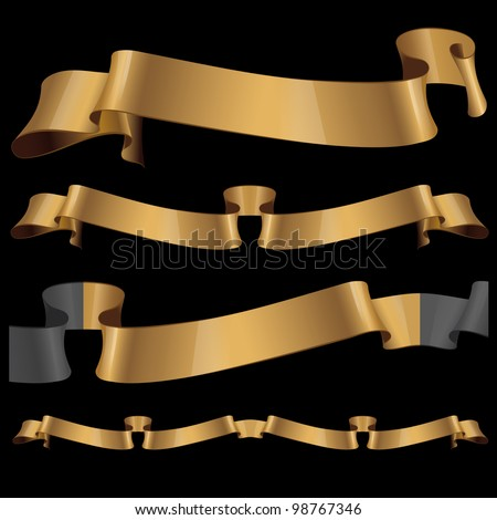 Gold glossy ribbons on a black background. eps 10