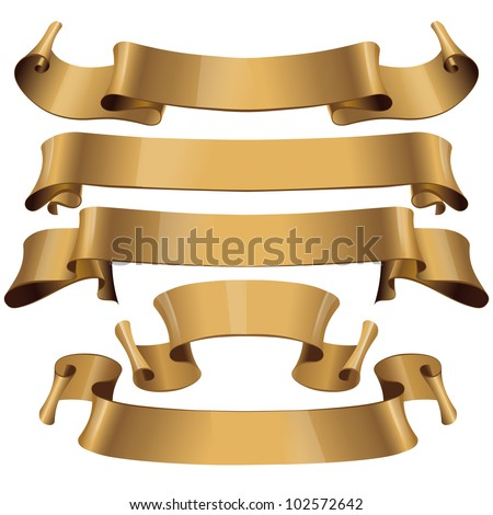 Gold glossy ribbons on a white background. eps 10 - stock vector
