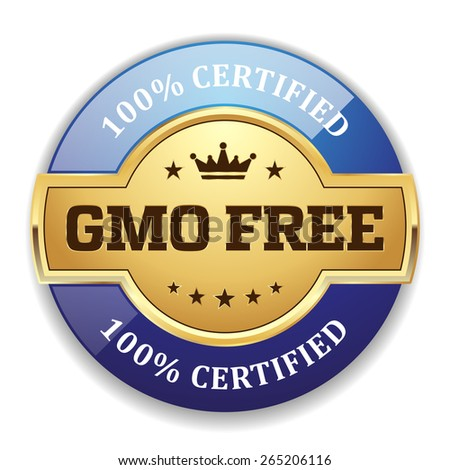 Gold gmo free badge with blue border on white background - stock vector