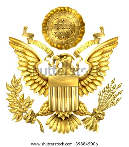 Gold Great Seal of the United States American eagle design with bald eagle holding an olive branch and arrows with American flag shield. With E pluribus unum scroll  and stars glory over his head. - stock vector
