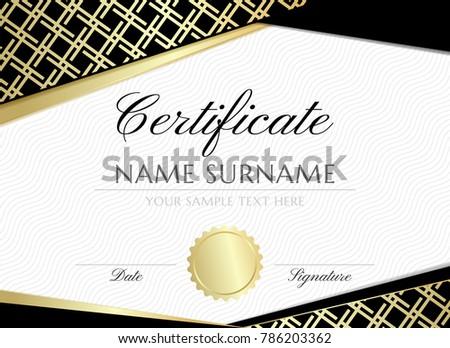 gold gride certificate design template graduation stock vector