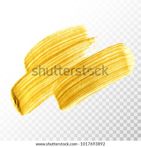 Gold hand drawn paint brush stroke isolated on transparent background. Abstract vector golden acrylic smear spot. High detailed gold glittering textured paint brushstroke