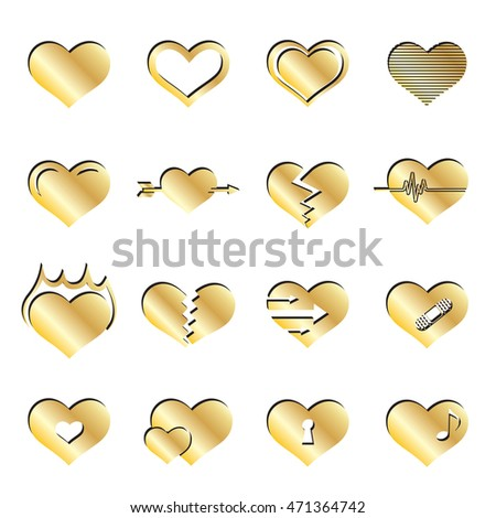 Gold Heart Icon Set