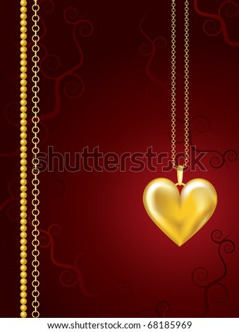 Gold heart locket on red floral background with space for text. EPS10 vector format. - stock vector