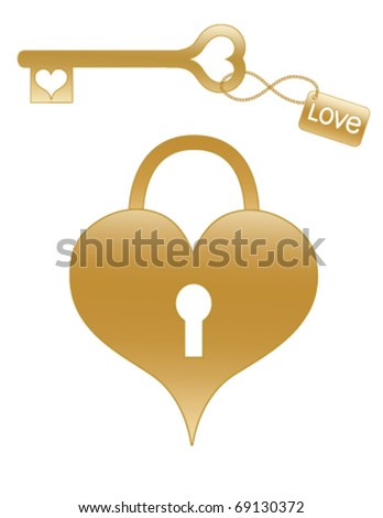 Gold Heart Shaped Lock and Key.  Fully editable and resizable. - stock vector