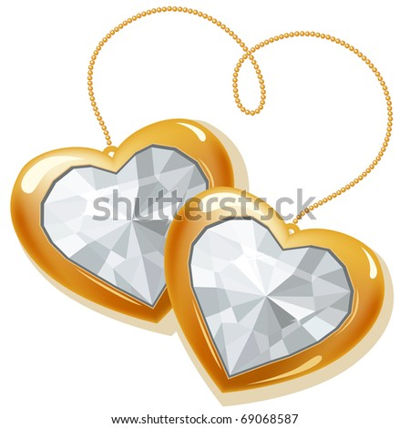 Gold hearts with diamonds isolated on white background - stock vector