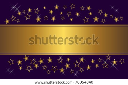 Gold holiday banner with stars and lights. vector.