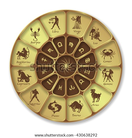 Gold horoscope circle.Circle with signs of zodiac.Vector illustration