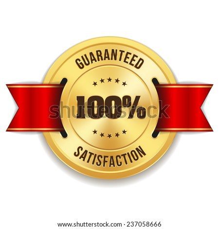 Gold hundred percent satisfaction badge with red ribbon on white background