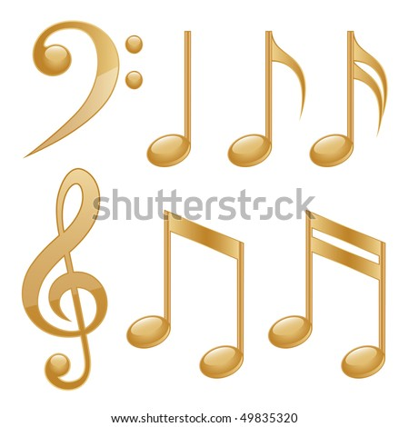 Gold icons of a music notes. Vector illustration. - stock vector