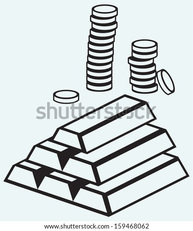 Gold ingots and coins isolated on blue background - stock vector