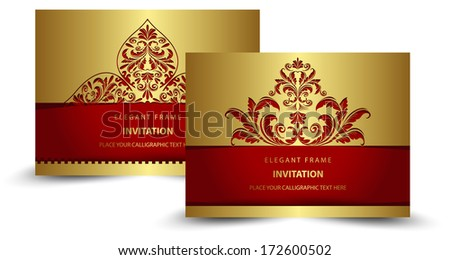 gold invitation - stock vector