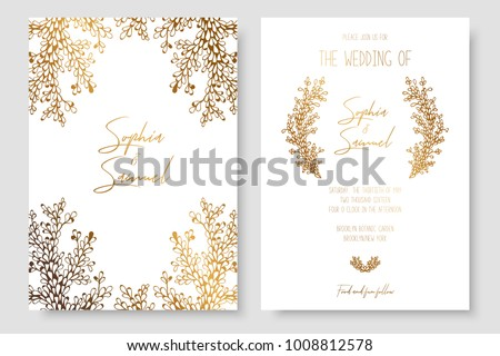 Gold invitation floral branches gold cards stok vektr 1008812578 gold invitation with floral branches gold cards templates for save the date wedding invites m4hsunfo