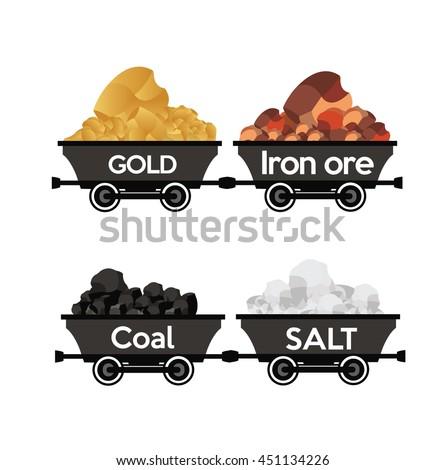 Gold,Iron ore,coal,salt wagons - stock vector