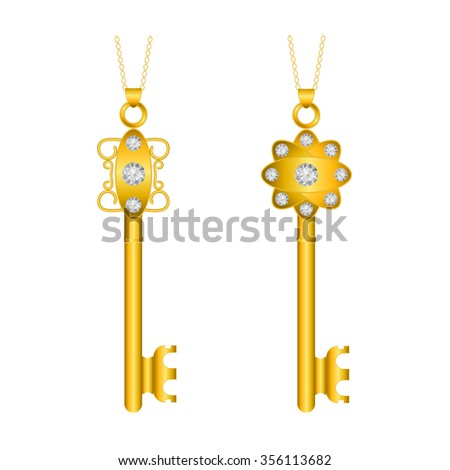 Gold key isolated, vector illustration on a white background - stock vector
