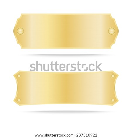 Gold label metal or Metallic gold name plate. Vector illustration - stock vector