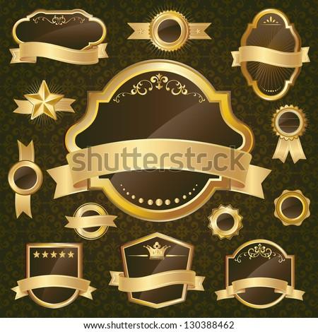 Gold label set on black background - stock vector